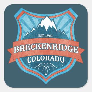 Breckenridgeコロラド州のティール(緑がかった色)のグランジな盾のステッカー スクエアシール