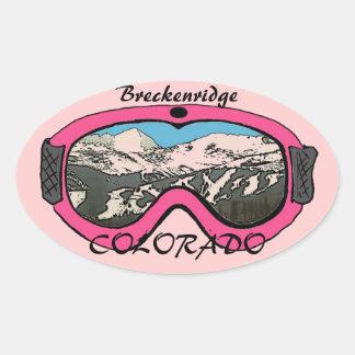Breckenridgeコロラド州のピンクのギョロ目のステッカー 楕円形シール