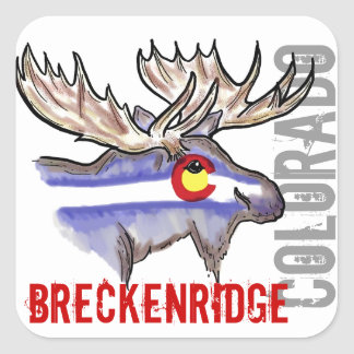 Breckenridgeコロラド州の旗のオオシカのデザインのステッカー スクエアシール