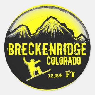 Breckenridgeコロラド州の黄色いスノーボードの芸術のステッカー ラウンドシール