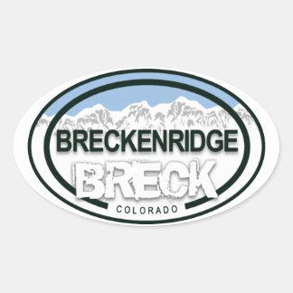 Breckenridgeコロラド州Breckのロッキー山脈のラベル 楕円形シール