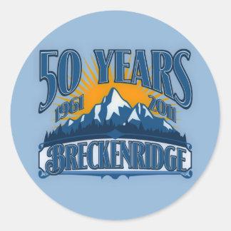 Breckenridge第50記念日のロゴ(青い) ラウンドシール