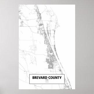 Brevard郡、フロリダ(白の黒) ポスター