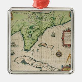 「Brevis Narratioからのフロリダの地図、 メタルオーナメント