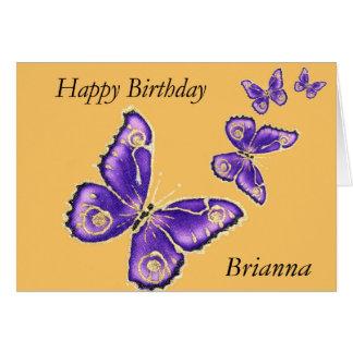 Briannaのハッピーバースデーの紫色の蝶カード カード
