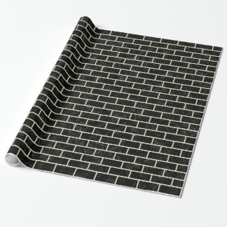 BRICK1黒い大理石及びベージュ麻布 ラッピングペーパー