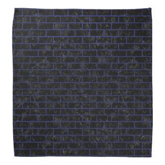 BRICK1黒い大理石及び青い革 バンダナ