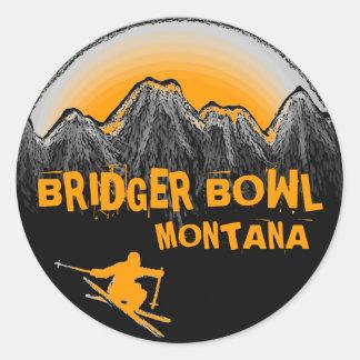 Bridgerボールのモンタナのオレンジスキーヤーのステッカー ラウンドシール