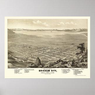 Brigham都市、UTのパノラマ式の地図- 1875年 ポスター