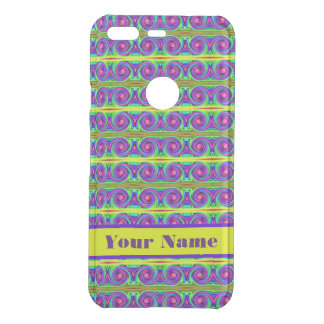 Bright colorful yellow purple curls pattern uncommon google pixelケース