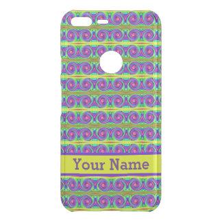 Bright colorful yellow purple curls pattern uncommon google pixel XLケース