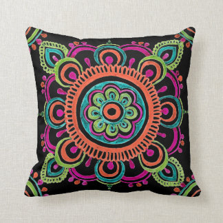 Bright Mexican lace design pillow クッション