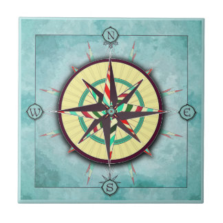 Bright Stripe Nautical Compass Ceramic Tile タイル