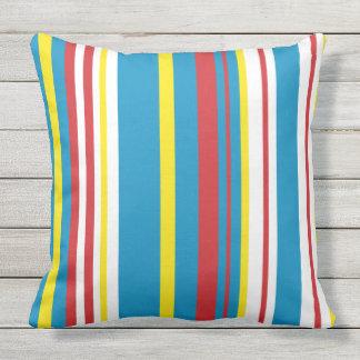 Bright striped cotton pillow アウトドアクッション