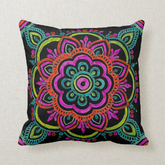 Bright vintage Mexican floral design pillow クッション