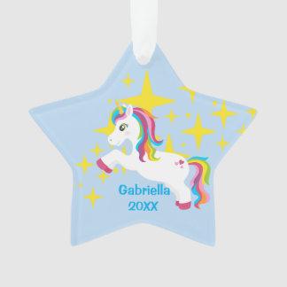 Bright Yellow Stars With Unicorn Ornament オーナメント