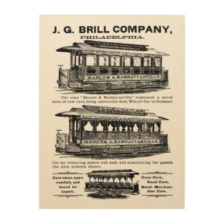 Brill Companyの市街電車およびトロリー ウッドウォールアート