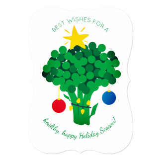 Broccoli food vendor vegan Christmas card カード