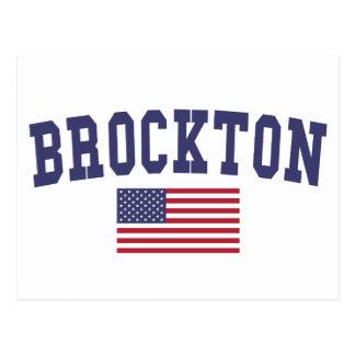 Brockton米国の旗 ポストカード