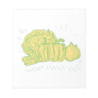Brocolliのトウガラシのタマネギのスケッチ ノートパッド