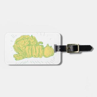 Brocolliのトウガラシのタマネギのスケッチ ラゲッジタグ