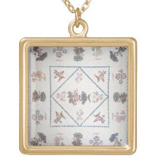 「Broderie Perseで」、c.1800 (、printe適用されるキルトにして下さい ゴールドプレートネックレス