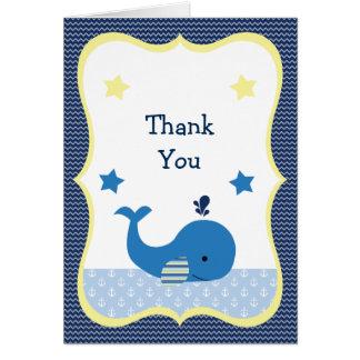 Brodyのクジラの航海のなベビーシャワーのサンキューカード カード