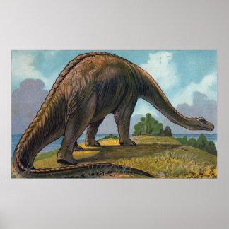Brontosaurusの恐竜の旧式なプリント ポスター