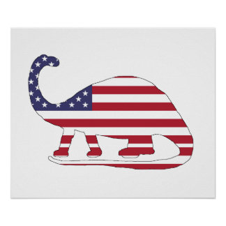 "Brontosaurus ""米国旗"" ポスター"
