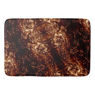 Bronze Brown Floral Embossing Art バスマット