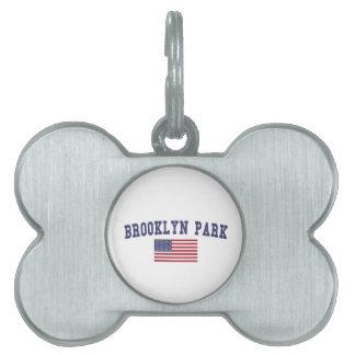 Brooklyn Park米国の旗 ペットネームタグ
