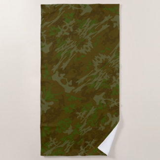 Brown And Green Camouflage Pattern ビーチタオル