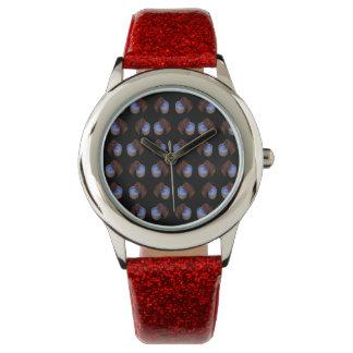 Brown_Thirsty_Guinea_Pigの_Girls_Red_Glitter_Watch 腕時計