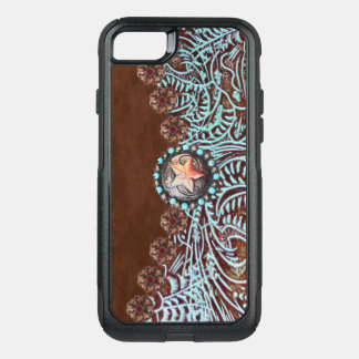 brown turquoise western country tooled leather オッターボックスコミューターiPhone 8/7ケース