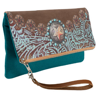 brown turquoise western country tooled leather クラッチバッグ