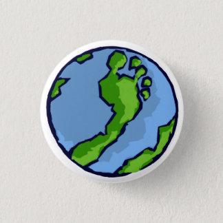 BRSの円形アートな緑の足の地球 3.2CM 丸型バッジ