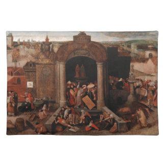 Bruegel著寺院から貿易業者を運転しているキリスト ランチョンマット