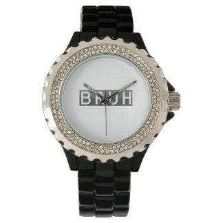 Bruhのラインストーンの黒のエナメル 腕時計