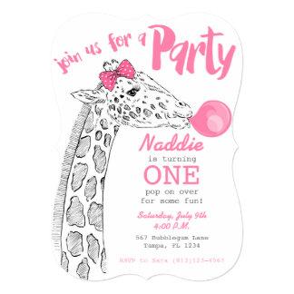 Bubblegumおよびキリンのピンクのパーティの招待状 カード