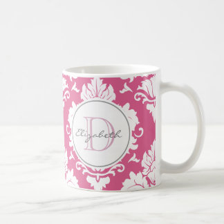 Bubblegumのピンクのダマスク織のモノグラムのなマグ コーヒーマグカップ