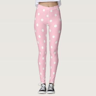 Bubblegumのピンクの水玉模様 レギンス