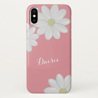 Bubblegumのピンクの白いデイジーの花 iPhone X ケース