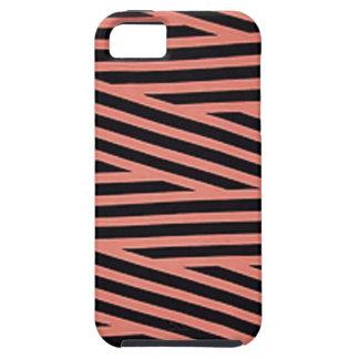 Bubblegumピンクおよび黒いHackyは縞で飾ります iPhone SE/5/5s ケース