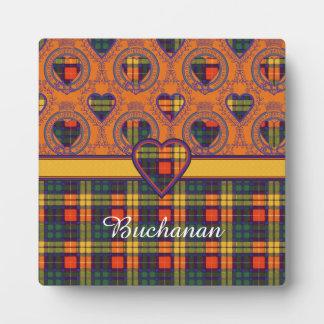 Buchanan家族の一族の格子縞のスコットランドのキルトのタータンチェック フォトプラーク