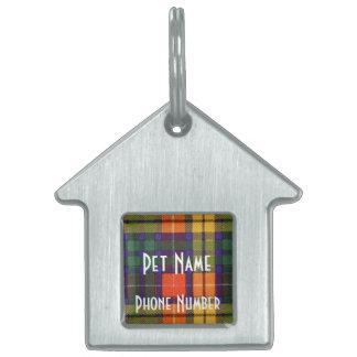 Buchanan家族の一族の格子縞のスコットランドのキルトのタータンチェック ペットネームタグ