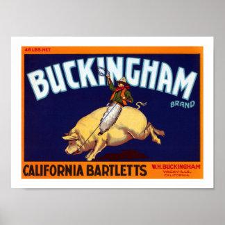 BuckinghamのブランドカリフォルニアBartletts ポスター