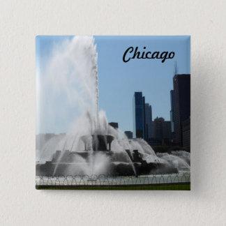 Buckinghamの噴水-シカゴ 5.1cm 正方形バッジ