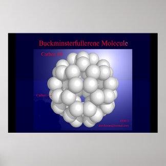 Buckminsterfullereneの分子(プリント) ポスター