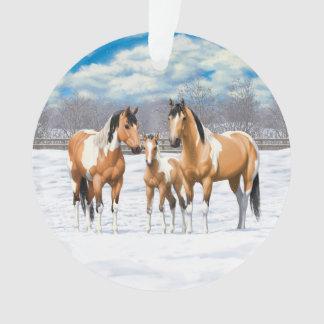 Buckskin Paint Horses In Snow オーナメント