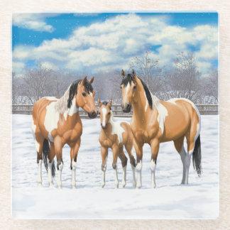 Buckskin Paint Horses In Snow ガラスコースター